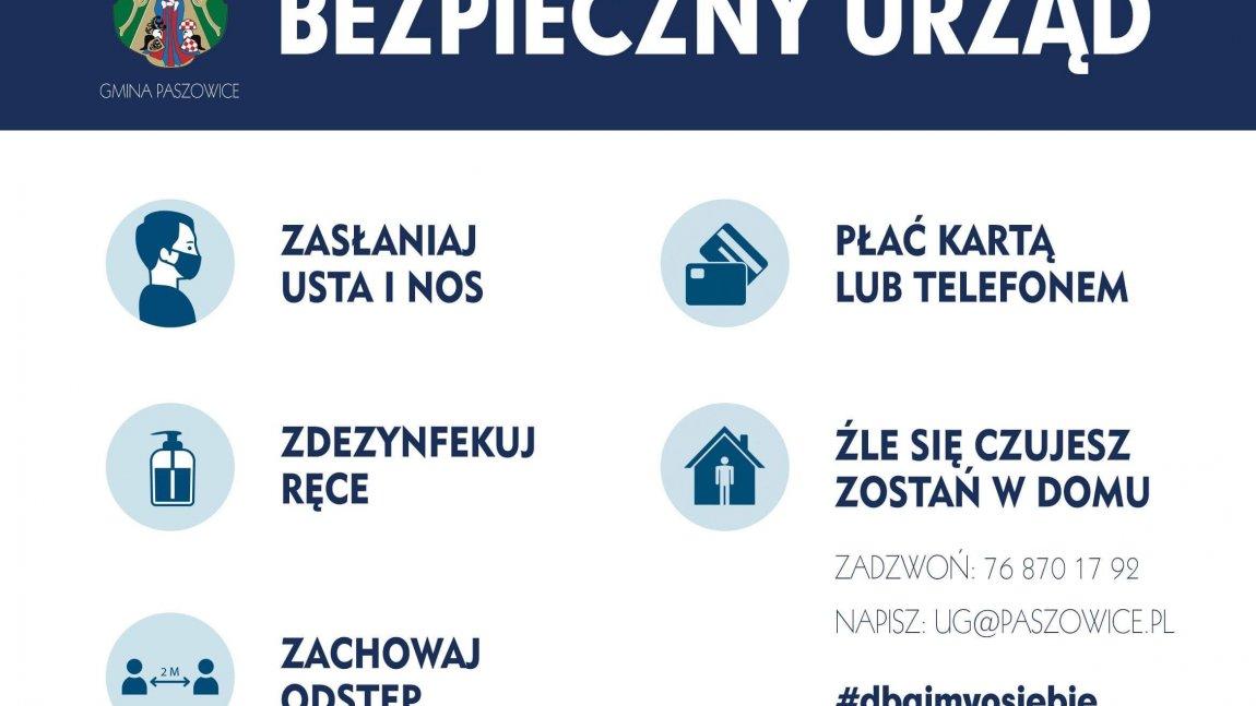Wójt Gminy Paszowice informuje, że od dnia 22 października Urząd Gminy jest otwarty dla Interesantów.