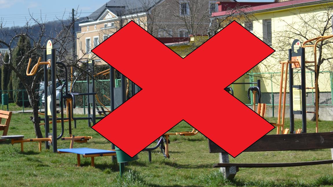 Korzystanie z placów zabaw zabronione!