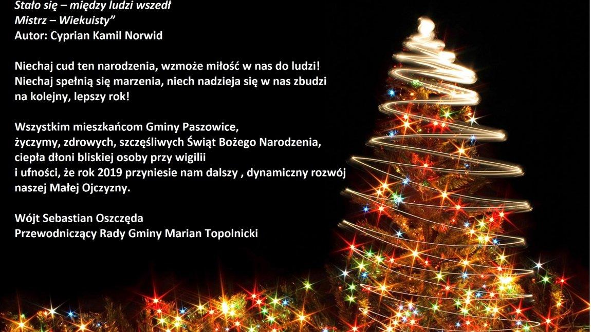Życzenia świąteczne dla mieszkańców Gminy Paszowice